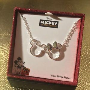 "Mickey & Minnie 18"" Silver plate necklace NWT &Box"